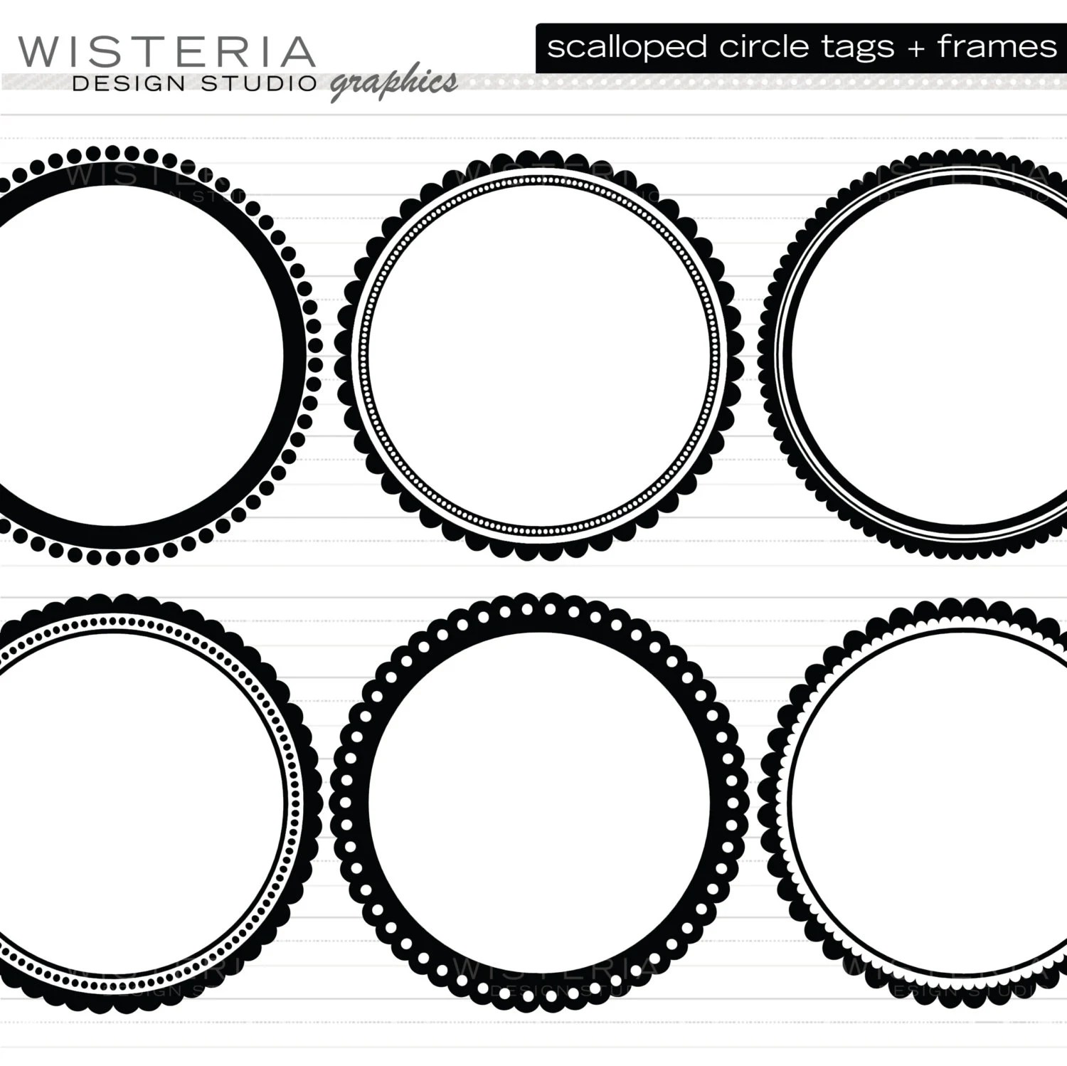 Black Scalloped Circle Tags/Frames Clip by