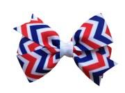 red white & blue chevron hair bow