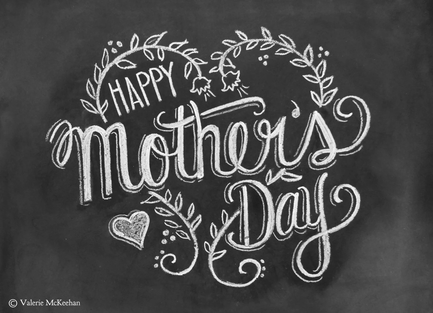 Mother's Day Card - Happy Mother's Day - Chalkboard Art - Hand Lettering- Chalk Art