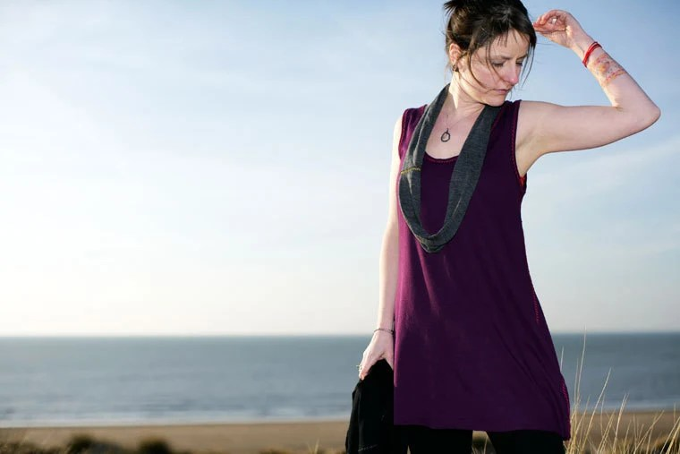 SALE - Hand stitched purple organic cotton tunic dress - dive into it - was 62.50 GBP - icancu2