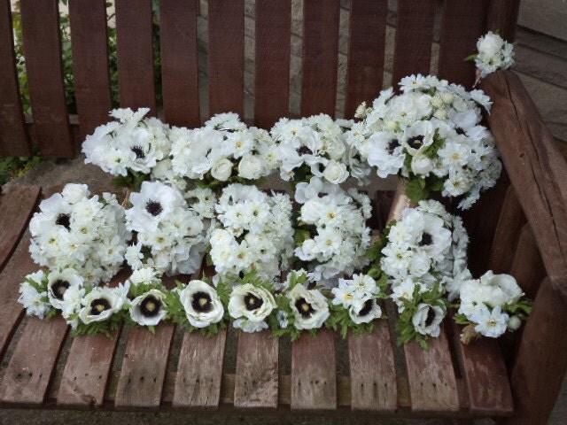 Rustic Wedding Bouquet  Anemone Rose and Daisy Silk Bridal