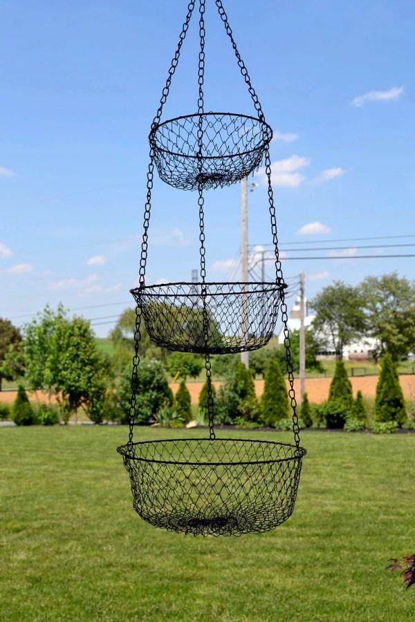 Vintage 3 Tier Hanging Fruit Basket