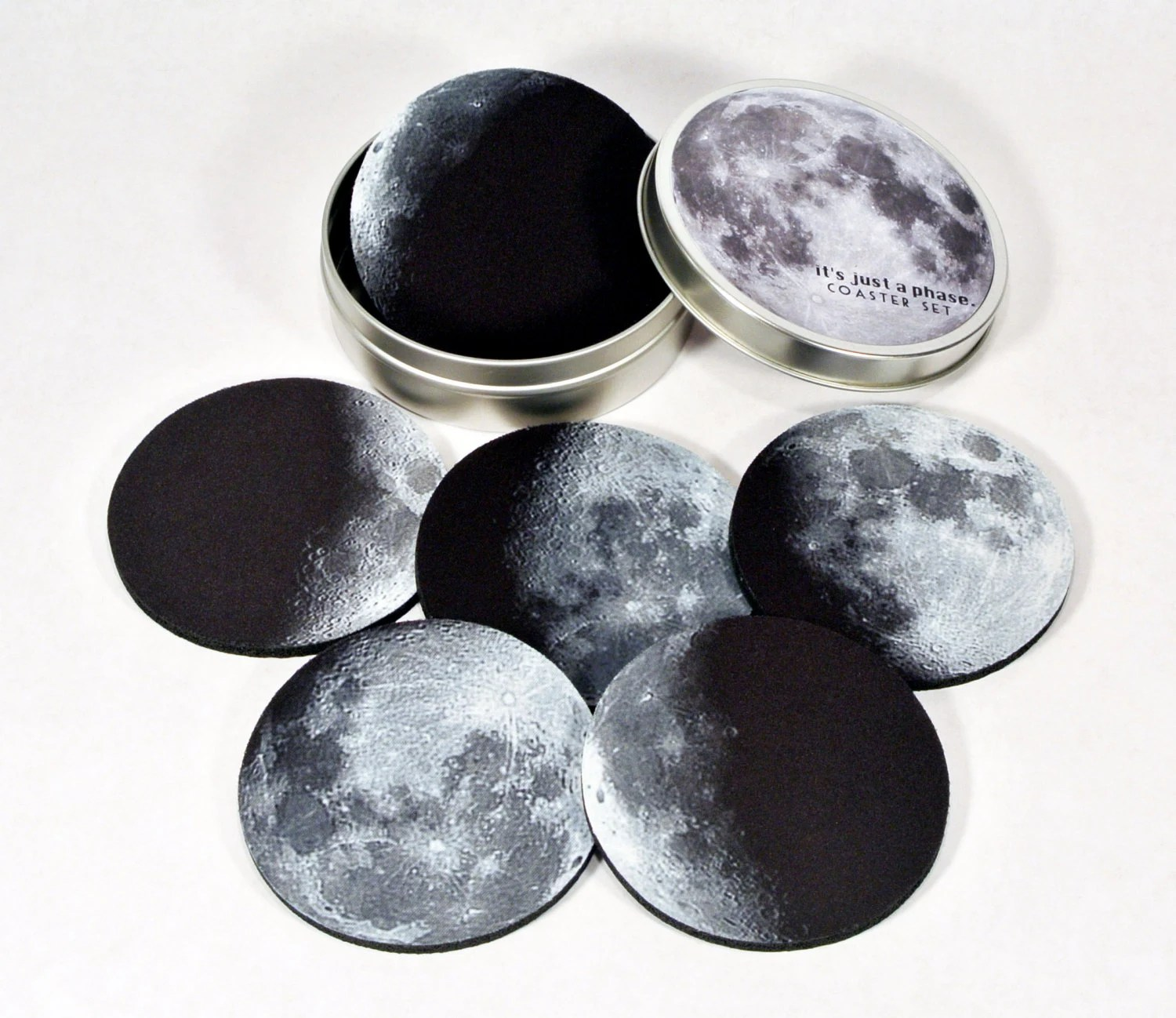 Moon Phases Coaster Set Lunar Crescent Moon Phase Geeky
