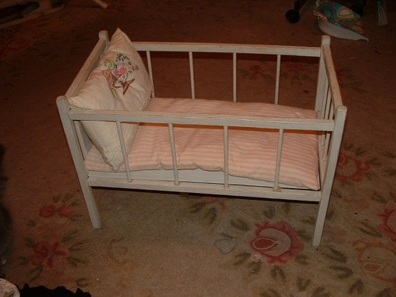 Antique Doll Crib Baby Doll Bed 1920s with Mattress  Pillow