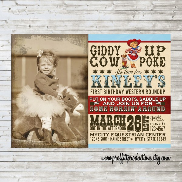 Vintage Cowgirl Birthday Party Invitation In Aqua