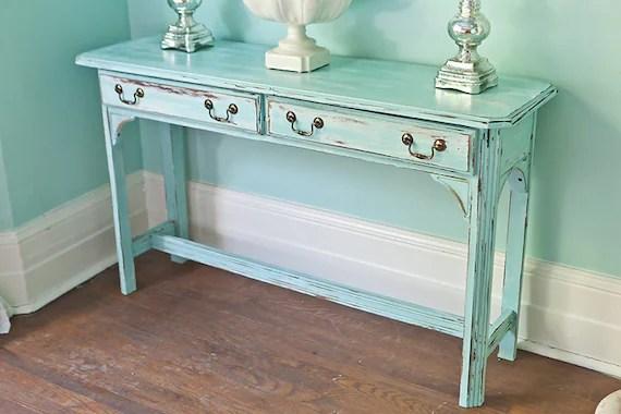 shabby chic sofa table vintage aqua blue distressed beach
