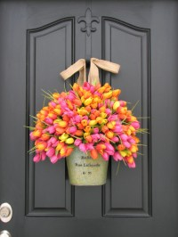 Spring Tulips Farmhouse Tulips Front Door Decor Country