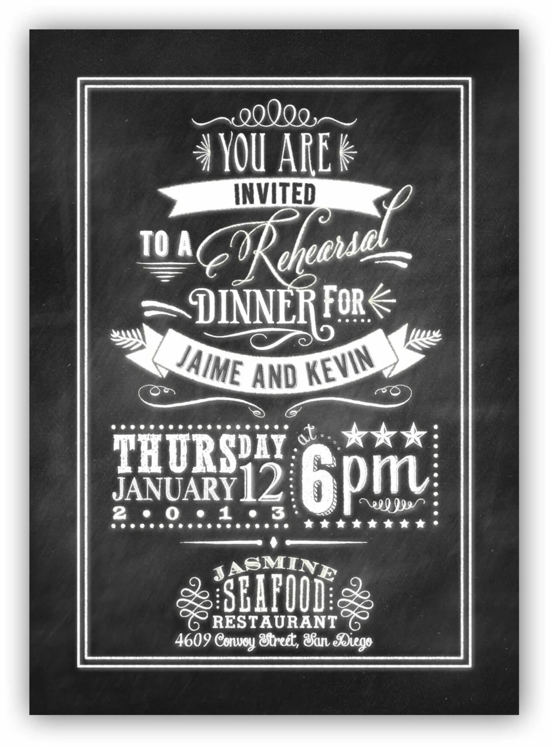 Chalkboard Art Rehearsal Dinner Invite 5x7 Digital Design