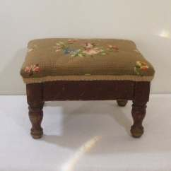 Antique Needlepoint Chair Indoor Hanging Chairs With Stand Vintage Wooden Footstool Floral Cover