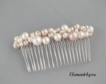 bridal hair b gold branches pearl flower by element4you on etsy