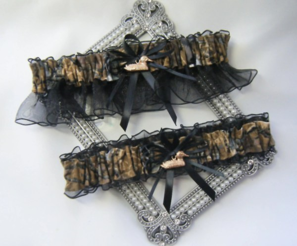 Duck Hunting Camouflage Wedding Garters Camo Garter Black