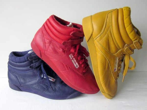 Reebok Classic High-top Shoes In Purple Red And Yellow
