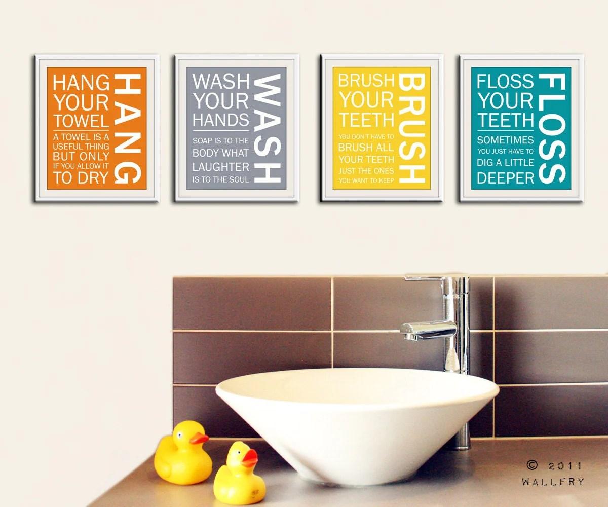 Bathroom art prints Bathroom Rules Kids bathroom wall