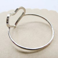 Open Heart Ring Sterling Silver Heart Promise Ring by misluo