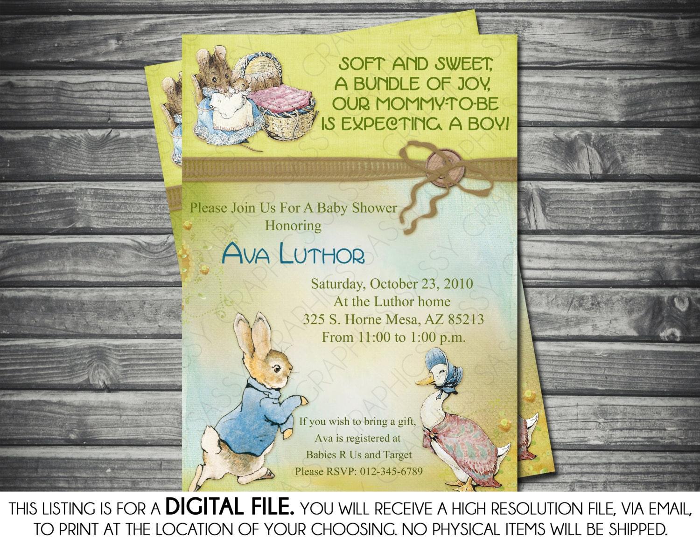 Boy Baby Shower Invitation Peter Rabbit Theme Vintage