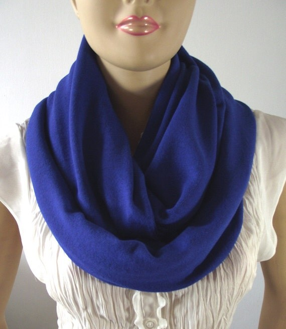 Blue Infinity Scarf Circle Scarf ROYAL BLUE Jersey Infinity
