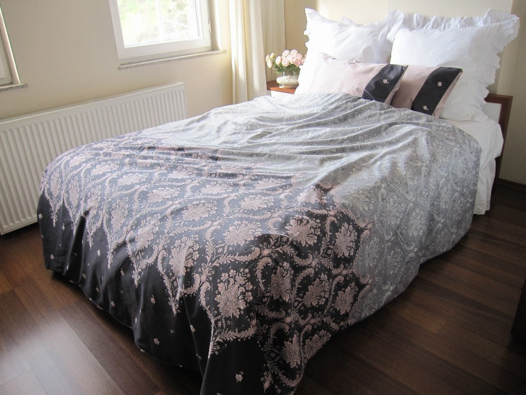 College Dorm Room Bedding Fast Shipping Pink Gray Damask
