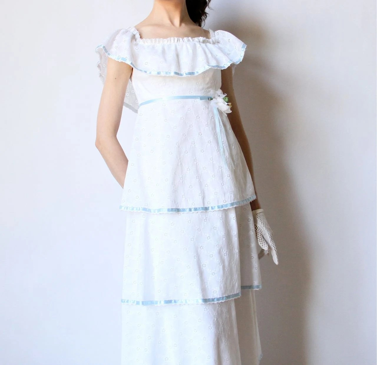 Boho Hippie Wedding Dress 70s Tiered Lace Maxi Peasant Style