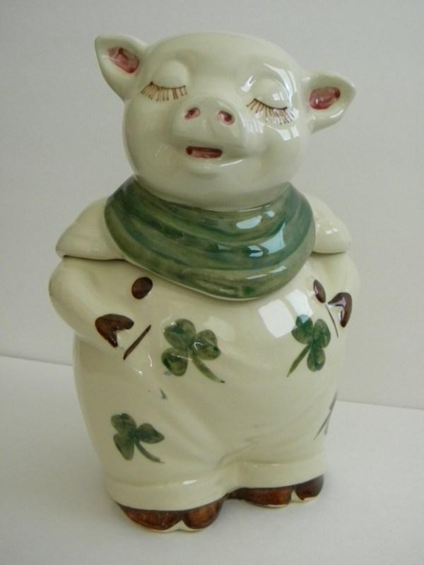 Shawnee Pottery Cookie Jar Smiley Shamrock Pig