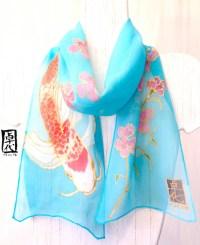 Silk Scarf Handmade. Handpainted Silk Blue by ...