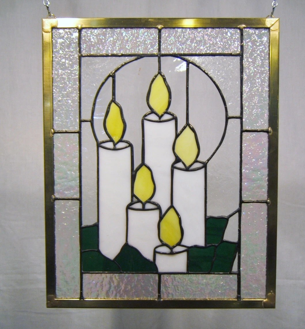 Stained Glass Panel Window Candles Stained Glass Window By