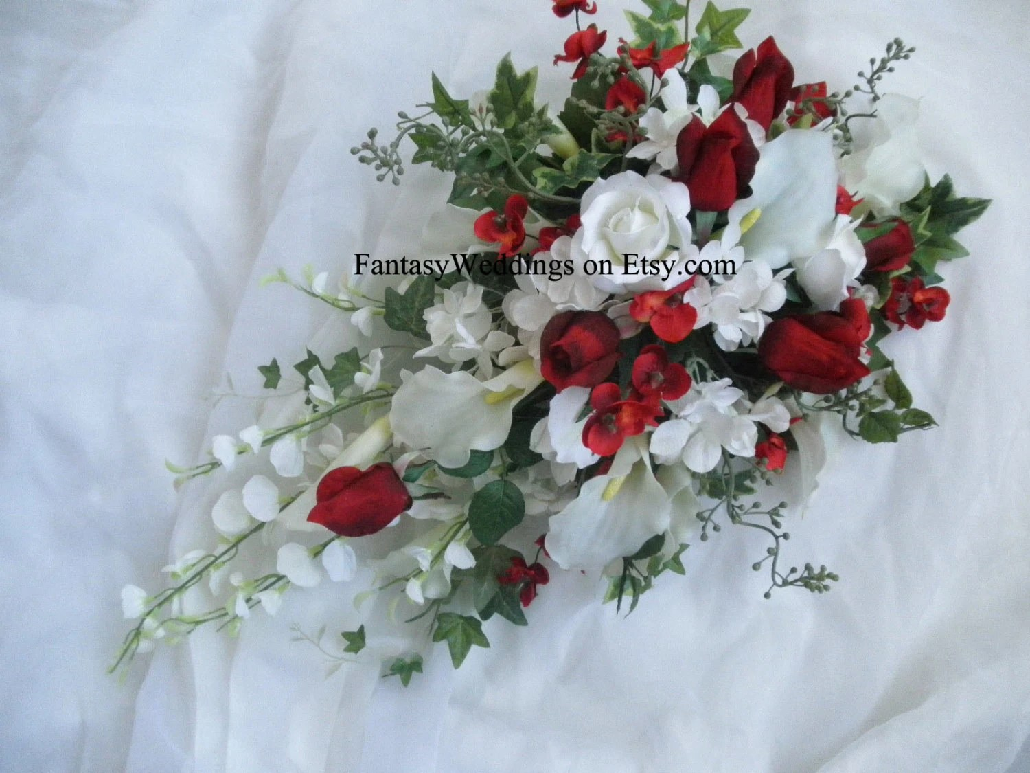 Valentines Day Cascade Bridal Bouquet Red Rose White