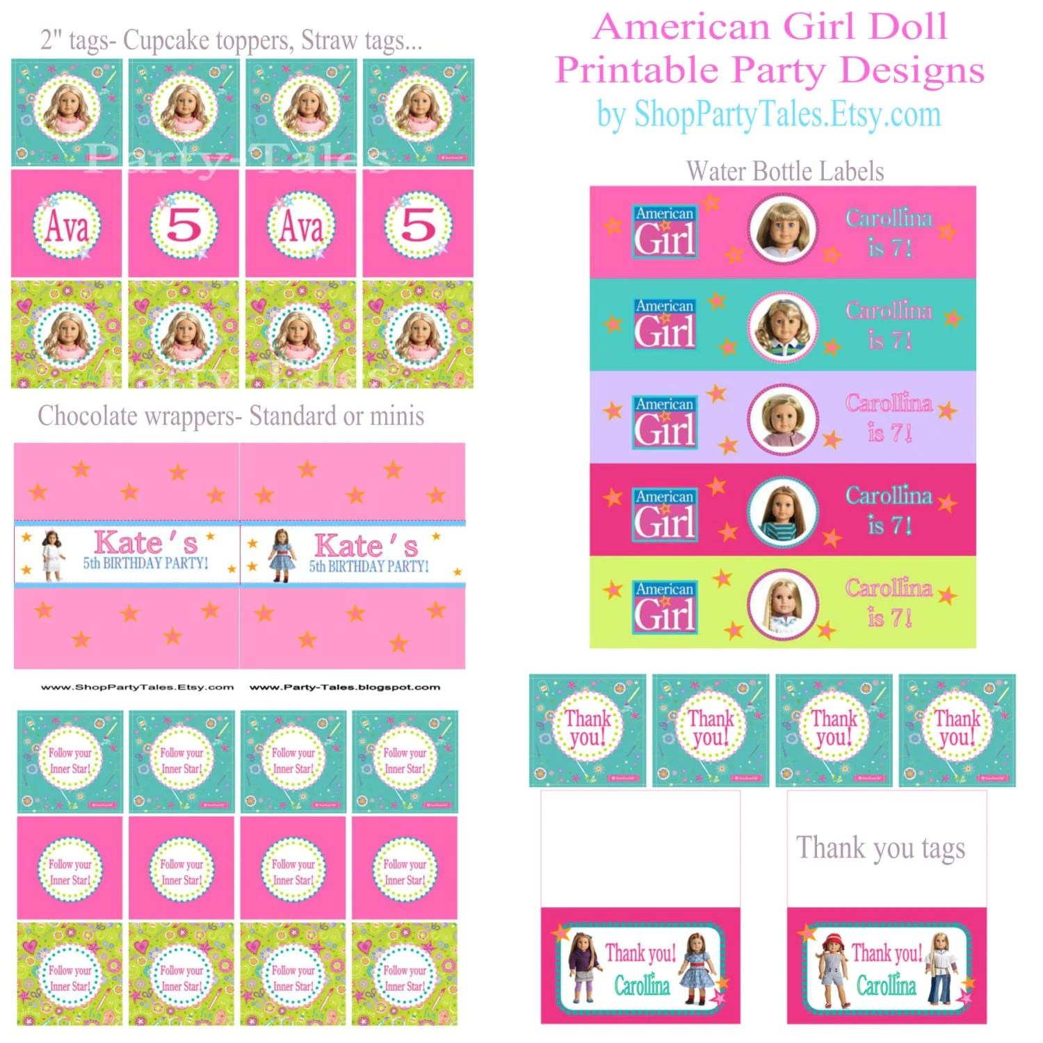 American Girl Doll Crafts Printable Birthday Party By