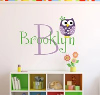 Personalized Owl Wall Decal Name Wall Decal Owl Nursery