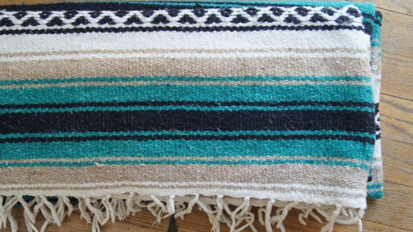 Mexican Blanket Serape Green Striped