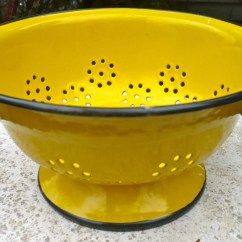 Hanging Chair Frame Pale Blue Covers Vintage Enamel Colander Yellow Strainer Kitchen