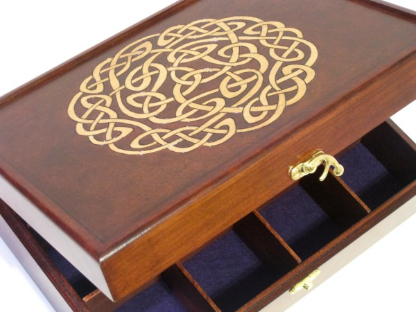 Celtic Knot Woodburned Tea Chest Watch Box 12 Compartments
