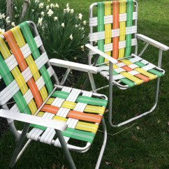 Aluminum Webbed Lawn Chairs Hand Painted Reserved Listing For D Retro Folding Set Of 2