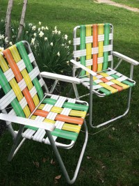 RESERVED Listing for D Retro Folding Lawn Chairs Set of 2