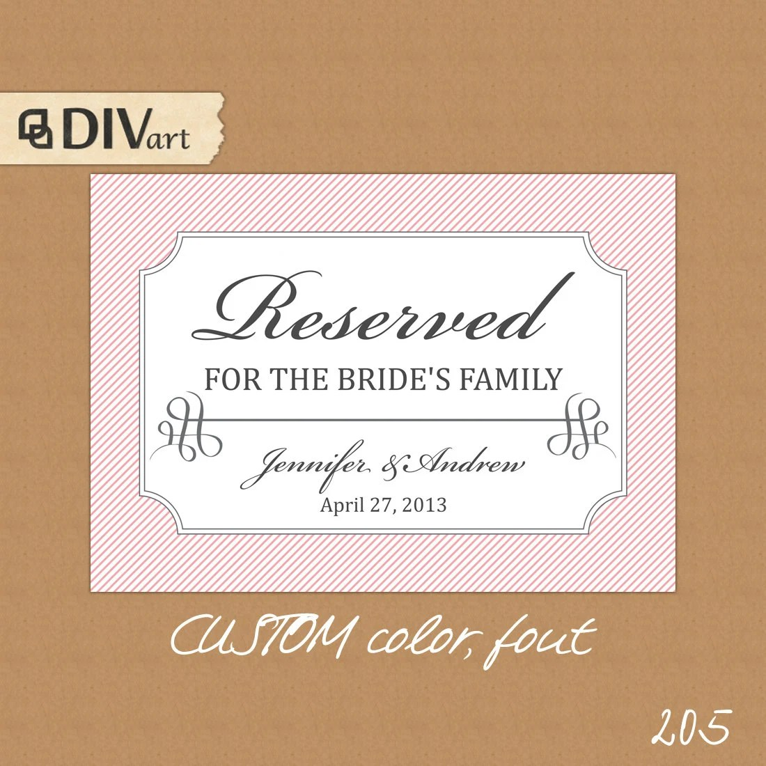 Items similar to PRINTABLE 7x5 Wedding Reserved Table