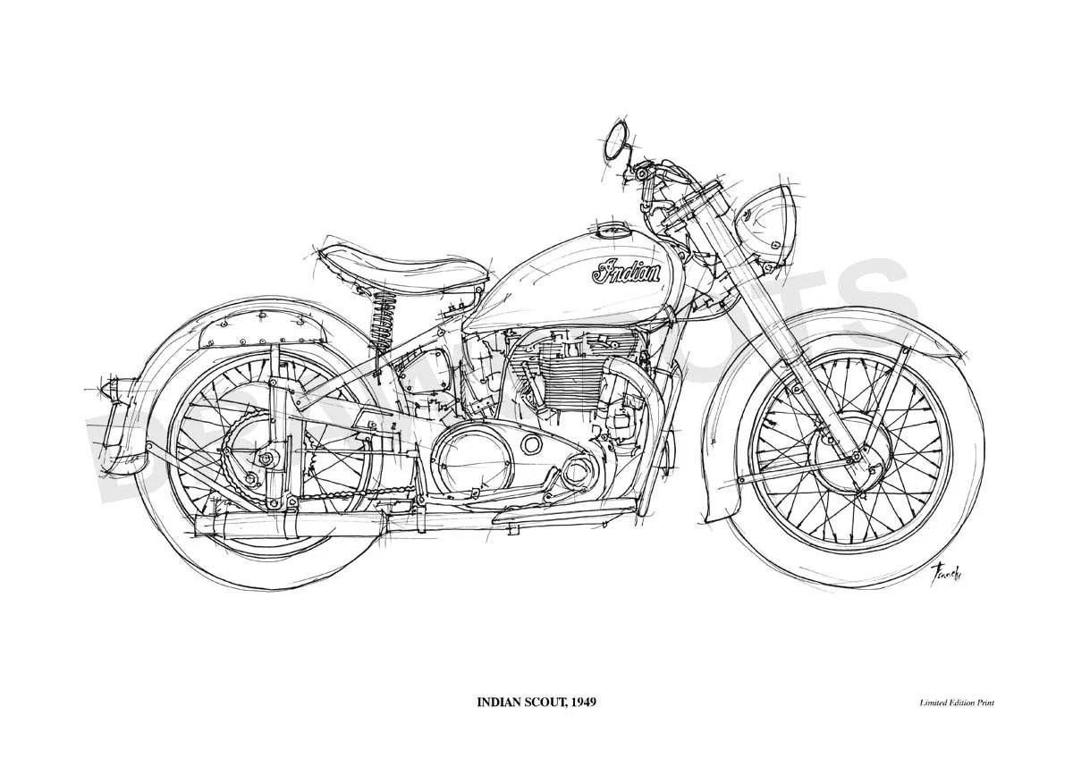 Indian Scout Original Handmade Drawing Print 11 5x16