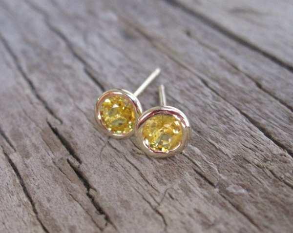 Yellow Sapphire Bezel Stud Earrings In 14k Gold Studio1040