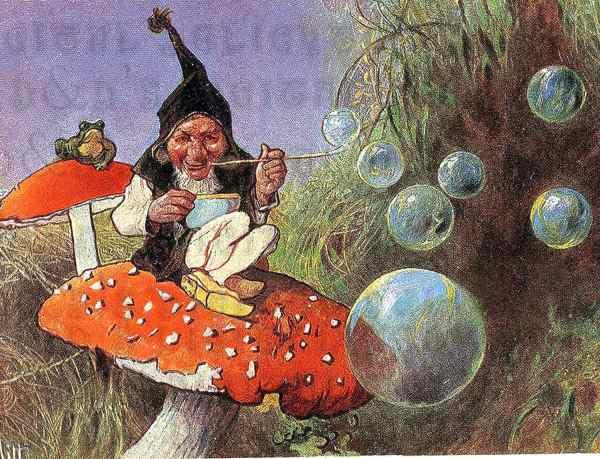 Rare. Favorite Gnome. Vintage Postcard Illustration
