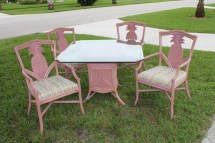 Vintage Pineapple Rattan Wood Dining Chairs Table