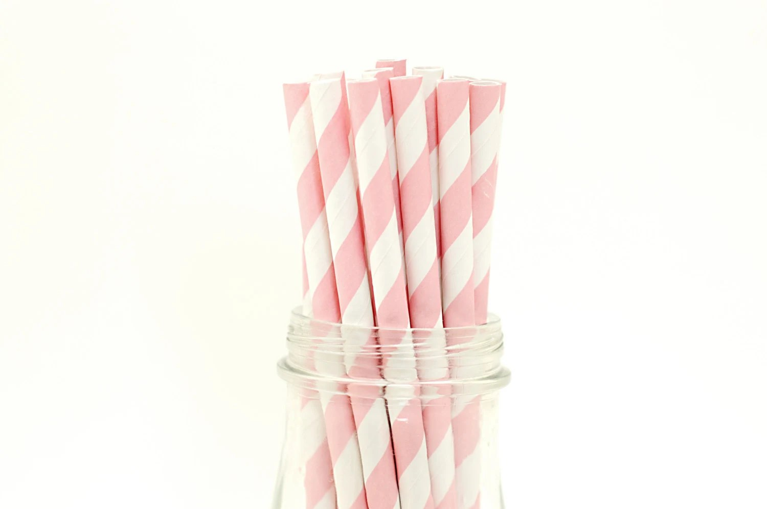 Set of 25 Pink Striped Paper Straws with FREE DIY Printable Flags - FancyThatLoved