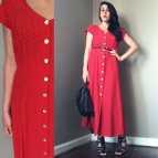 Red Polka Dot Button Down Dress