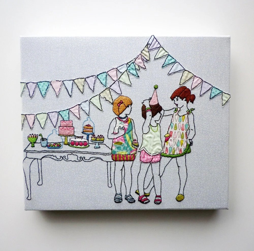 Children's Embroidery Art: 'Birthday Girls plus cakes' 12x10inch