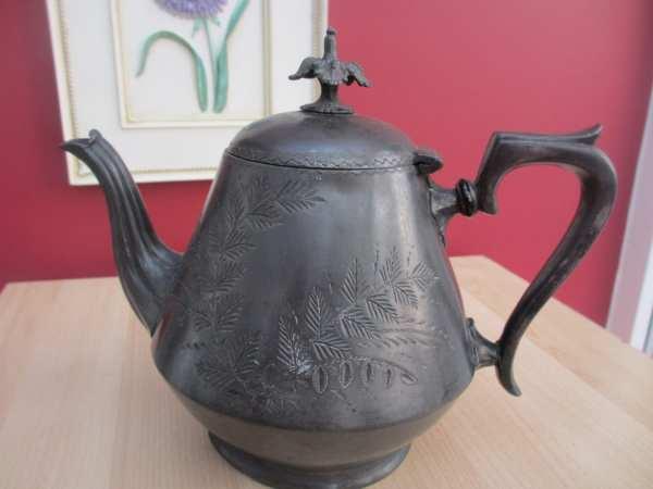 Antique English Silver Teapot Es & Ep
