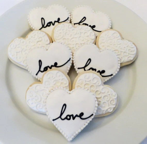 Items similar to Heart cookie favors decorated for a Wedding Bridal shower or Valentines1
