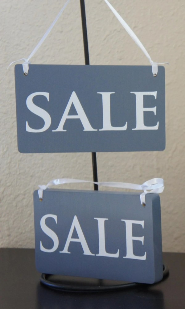 Signs Pair Set With Ribbon Solid Wood Business Retail