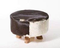 Large Round Leather/Cowhide Ottoman in Black & White. by ...