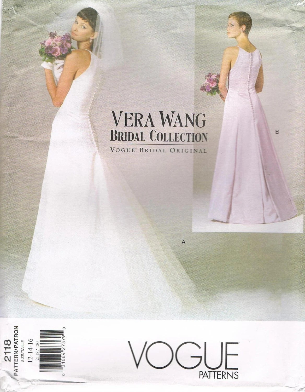 Vera Wang bridal gown pattern - Vogue 2118