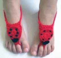 Girl Crochet Barefoot Sandals Red&black With Ladybird