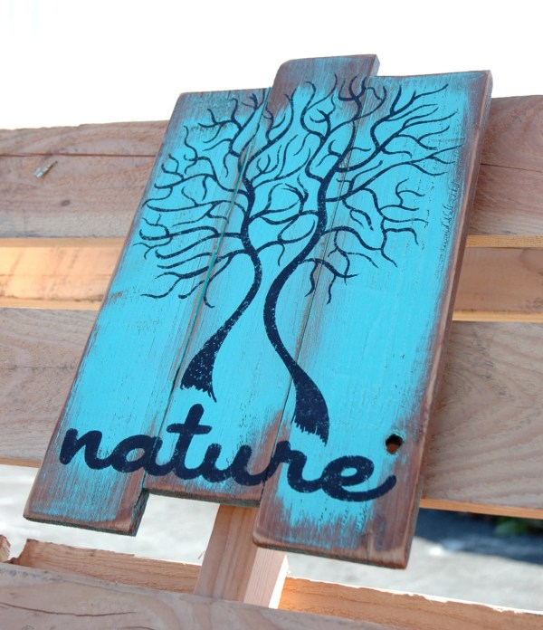 Wood Pallet Wall Art Nature Tree Design In Blue