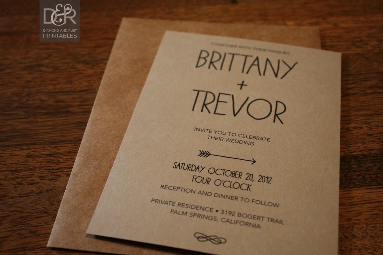 Rustic Woodsy Printable Wedding Invitation Suite by DiamondAndRust