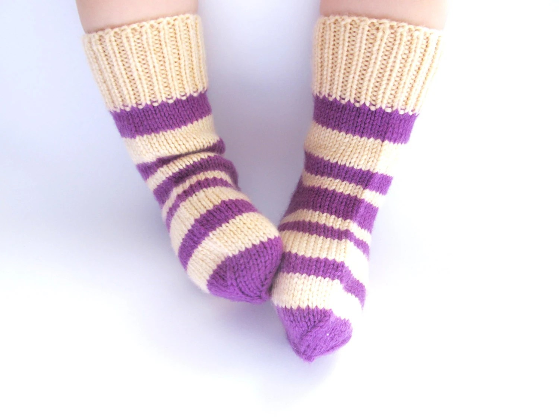 Baby Socks from Merino Wool Purple Colour - Knitted Super Soft Socks for Kids - Wool Baby Socks - Gift for Children -  Made to Order - Junikid